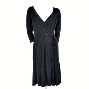 LOFT Black Faux Wrap Swing Skirt 3/4 Sleeve Dress
